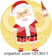 Clipart Of A Christmas Santa Claus Holding A Beer Bottle Royalty Free Vector Illustration