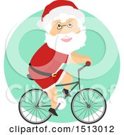 Clipart Of A Christmas Santa Claus Riding A Bicycle Royalty Free Vector Illustration