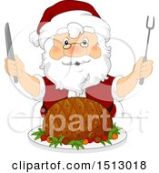 Clipart Of A Christmas Santa Claus Ready To Carve A Ham Royalty Free Vector Illustration by BNP Design Studio