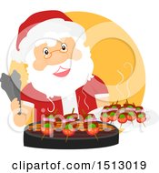 Clipart Of A Christmas Santa Claus Grilling On A Bbq Royalty Free Vector Illustration