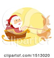 Clipart Of A Christmas Kangaroo Pulling Santa Claus In A Sleigh Royalty Free Vector Illustration by BNP Design Studio