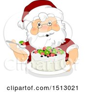Clipart Of A Christmas Santa Claus Eating A Pavlova Dessert Royalty Free Vector Illustration