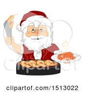 Clipart Of A Christmas Santa Claus Grilling Shrimp Royalty Free Vector Illustration by BNP Design Studio