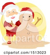 Clipart Of A Christmas Santa Claus Making A Sand Snowman Royalty Free Vector Illustration