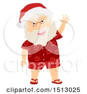 Clipart Of A Christmas Santa Claus Wearing A Hawaiian Shirt And Waving Royalty Free Vector Illustration