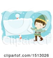 Clipart Of A Boy Christmas Elf With A North Pole Sign Royalty Free Vector Illustration