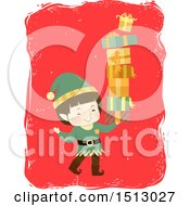 Clipart Of A Boy Christmas Elf With A Tower Of Gifts Royalty Free Vector Illustration