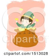 Clipart Of A Boy Christmas Elf With A Sack Of Gold Coins Royalty Free Vector Illustration