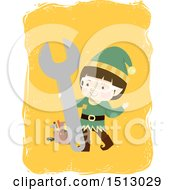 Clipart Of A Boy Christmas Elf With A Wrench And Tool Box Royalty Free Vector Illustration by BNP Design Studio