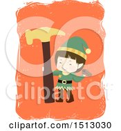 Clipart Of A Boy Christmas Elf With A Hammer Royalty Free Vector Illustration