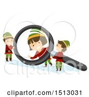 Clipart Of A Group Of Christmas Elf Kids Playing With A Magnifying Glass Royalty Free Vector Illustration by BNP Design Studio