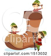 Clipart Of A Group Of Christmas Elf Kids Building A Boot Royalty Free Vector Illustration