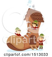 Clipart Of A Group Of Christmas Elf Kids In A Boot House Royalty Free Vector Illustration