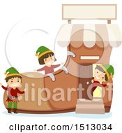 Clipart Of A Group Of Christmas Elf Kids In A Boot Shop Royalty Free Vector Illustration