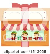 Clipart Of A Group Of Christmas Elf Kids In A Gift Wrapping Stand Royalty Free Vector Illustration