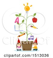 Clipart Of A Group Of Gnome Kids With An Educational Plant Royalty Free Vector Illustration