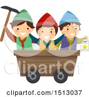 Clipart Of A Group Of Gnome Kids In A Mining Cart Royalty Free Vector Illustration