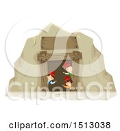 Clipart Of A Group Of Gnome Kids Waving From A Mining Cave Royalty Free Vector Illustration