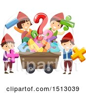 Clipart Of A Group Of Gnome Kids Around A Mining Cart Full Of Numbers Royalty Free Vector Illustration
