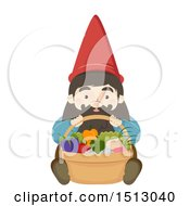 Clipart Of A Gnome Sitting With A Basket Of Produce Royalty Free Vector Illustration