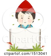 Clipart Of A Boy Dwarf Over An Open Book Royalty Free Vector Illustration