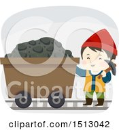 Clipart Of A Boy Dwarf With A Coal Cart Royalty Free Vector Illustration
