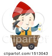Clipart Of A Boy Dwarf Miner In A Cart Holding A Gas Lamp Royalty Free Vector Illustration