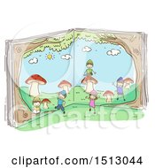Clipart Of A Sketched Group Of Kid Dwarves Playing Around A Book Royalty Free Vector Illustration