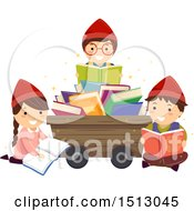Clipart Of A Group Of Dwarf Kids Reading Around A Mining Cart Royalty Free Vector Illustration