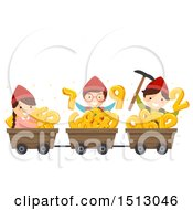 Group Of Kid Dwarfs With Mining Carts Full Of Numbers