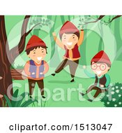 Clipart Of A Group Of Dwarf Kids Playing In The Woods Royalty Free Vector Illustration
