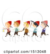 Clipart Of A Group Of Dwarf Kids With Mining Tools Royalty Free Vector Illustration