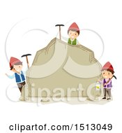 Clipart Of A Group Of Dwarf Kids Holding Picks And A Lantern Around A Boulder Royalty Free Vector Illustration