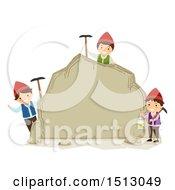 Group Of Dwarf Kids Holding Picks And A Lantern Around A Boulder