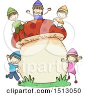 Sketched Group Of Kid Dwarfs With A Giant Mushroom