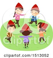 Clipart Of A Group Of Dwarf Kids Playing Outdoors Royalty Free Vector Illustration