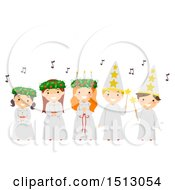 Clipart Of A Group Of Children Singing Carols During The Feast Day Of Saint Lucy Royalty Free Vector Illustration