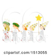 Clipart Of A Line Of Children In A A Saint Lucia Parade Royalty Free Vector Illustration
