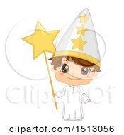 Clipart Of A Swedish Boy In A St Lucias Day Star Costume Royalty Free Vector Illustration