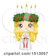 Clipart Of A Girl In A Ltttle Lucia Costume Royalty Free Vector Illustration