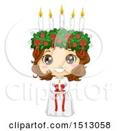 Clipart Of A Girl Holding A Candle In A Ltttle Lucia Costume Royalty Free Vector Illustration