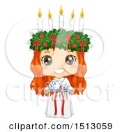 Clipart Of A Girl Holding A Coffee Tray And Wearing A Ltttle Lucia Costume Royalty Free Vector Illustration