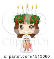 Clipart Of A Girl Holding A Basket Of Saffron Buns And Wearing A Ltttle Lucia Costume Royalty Free Vector Illustration