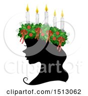 Clipart Of A Profiled Silhouetted Woman Wearing A Saint Lucia Crown Royalty Free Vector Illustration