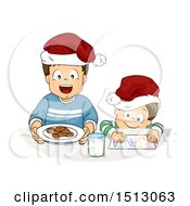 Clipart Of Little Boys Preparing Cookies And A Letter For A Christmas Santa Snack Royalty Free Vector Illustration