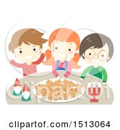 Clipart Of A Group Of Children With Yule Goat Shaped Gingerbread Cookies On A Plate And A Couple Of Nisse Royalty Free Vector Illustration by BNP Design Studio