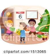 Clipart Of A Group Of Children Giving Gifts On Kings Day Royalty Free Vector Illustration by BNP Design Studio