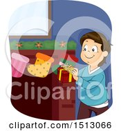 Clipart Of A Happy Boy Putting A Gift In A Christmas Stocking Royalty Free Vector Illustration by BNP Design Studio