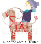 Clipart Of A Winter Boy Riding A Straw Yule Goat Royalty Free Vector Illustration by BNP Design Studio
