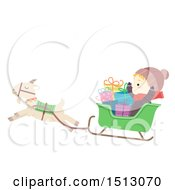 Clipart Of A Boy With Christmas Gifts Riding In A Yule Goat Sleigh Royalty Free Vector Illustration by BNP Design Studio